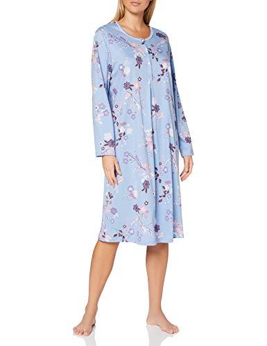 CALIDA Cosy Cotton Nights Camicia da Notte, Stampa Blu Chiaro, S Donna