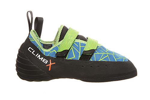 Climb X Redpoint Strap NLV Men's/Women's Climbing Shoe with Sickle M-16 Climbing Brush (5, Ocean/Lime)