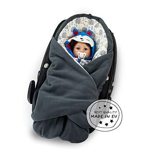 MUNIMU Baby Einschlagdecke Design - für alle gängigen Babyschalen, Autositze, Kinderwagen, Buggy und Babytragen - wattiertes Polar Fleece Innenseite Baumwolle - OEKO-Tex Standard 100 - Made in EU