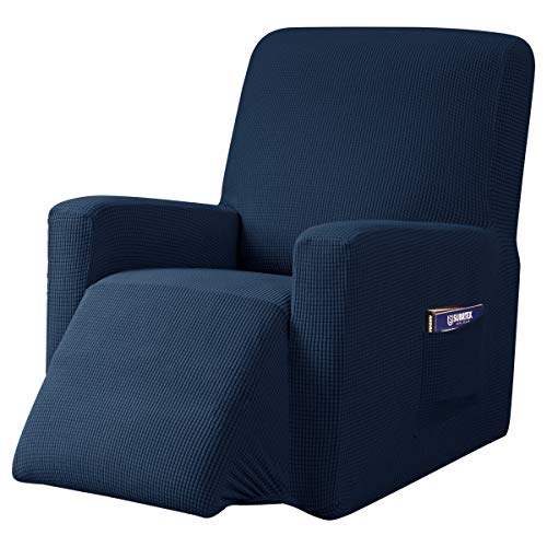 subrtex Recliner Chair Cover Stretch Recliner Slipcover Lazy Boy Covers for Furniture Protector Rocker Sofa Cover with Side Pocket (Recliner, Navy) -  SBTZHS0015