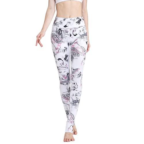 QTJY Nalgas de Cintura Alta Pantalones de Yoga Sexy Leggings de Ejercicio de Culturismo Femenino Moda Floral Pantalones de Fitness al Aire Libre E-1 L