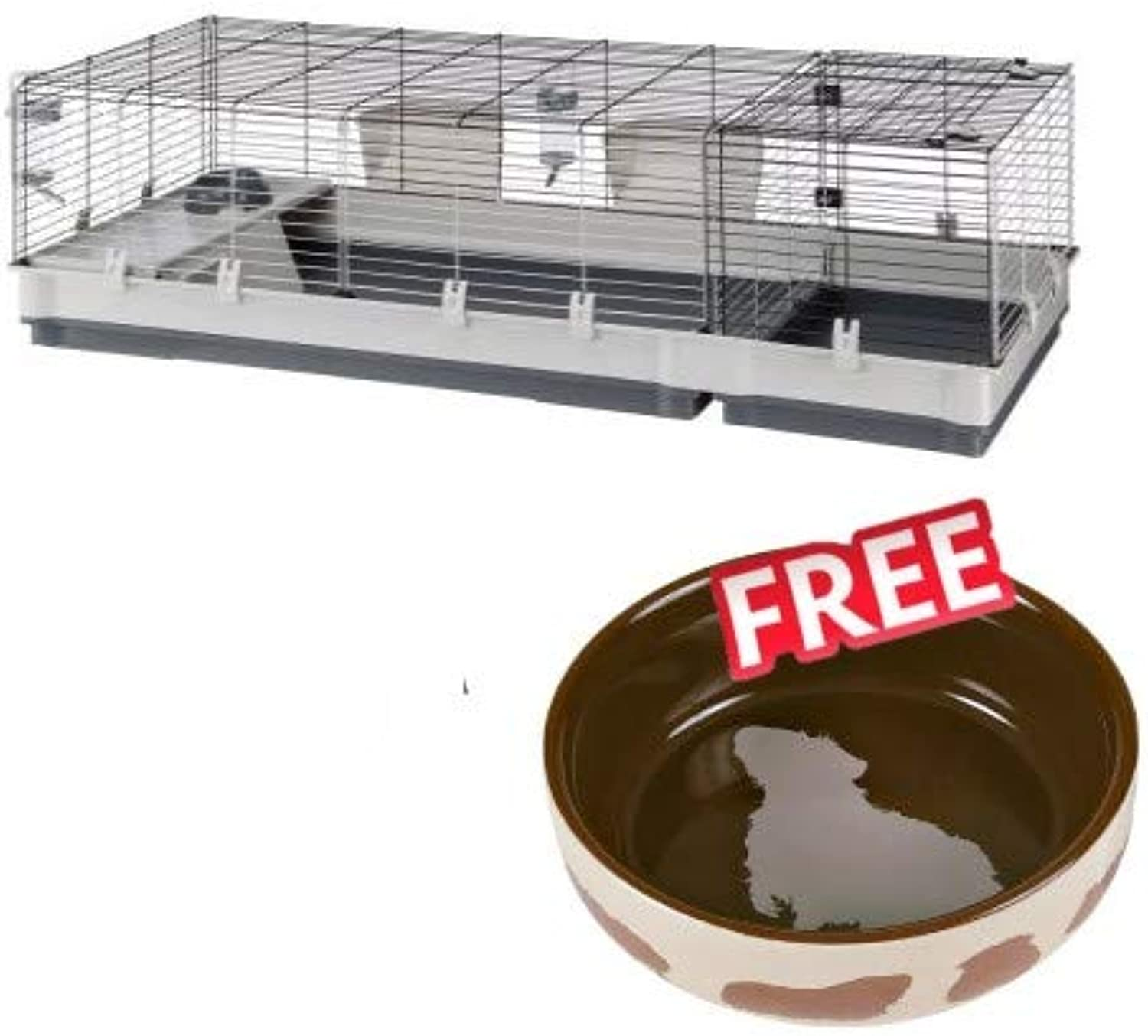 Plaza 160 Small Pet Large Cage with Accessories and Nesting Area, Three Large Doors 2.45 cm Grill Walls Grey 162 x 60 x 50cm for Rabbits & Guinea Pigs FREE Ceramic Food Bowl