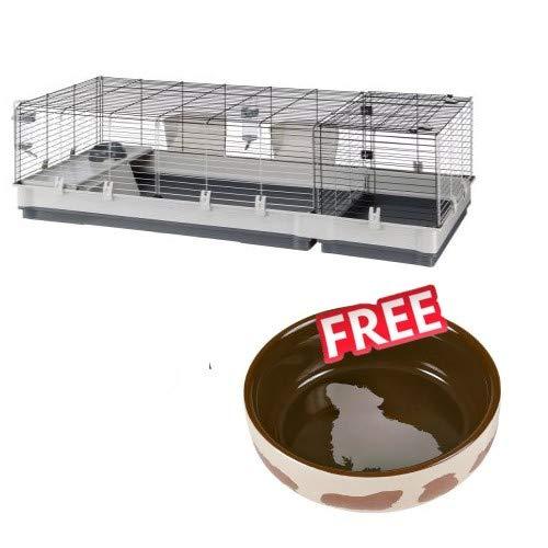 Plaza 160 Cage avec accessoires et zone de nidification pour petits animaux domestiques 3 grandes portes 2,45 cm Grille murale Gris 162 x 60 x 50 cm Bol en céramique inclus
