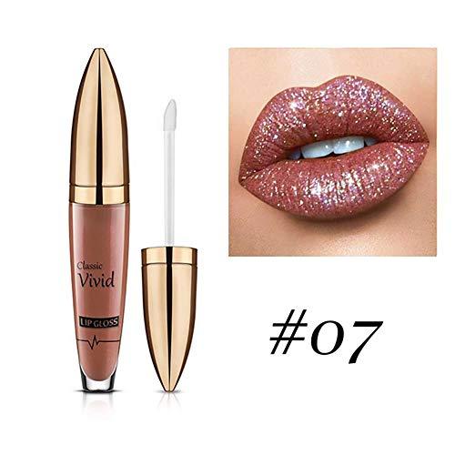 1PC Glitter Lippenstift Metallic Sparkly Lipgloss Diamanten Shimmer Lip Stick Lang dauert Wasserdicht LIPG Verlust Glasur für natürliche glatte bequeme Lip (7)