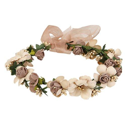 UEETEK Flores cabello Garland diadema rosa con cuentas banda de Dama de honor para el banquete de bodas