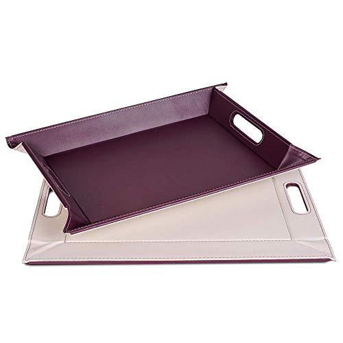 FREEFORM DUO - 2in1 wendbares Tablett & Tischset, pflaume/elfenbein, Kunstleder, Maße: 55 x 41 cm
