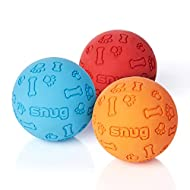 Snug Rubber Dog Balls for Small and Medium Dogs - Tennis Ball Size - Virtually Indestructible (3 Pac...