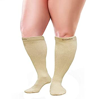 BAMS Plus Size Compression Socks Wide Calf Up to XXXXL – Graduated Bamboo Knee-High Support