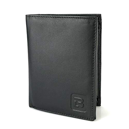Geldbörse echtes Leder Herren Portemonnaie Hoch Format Geldbeutel (Schwarz, 2650)