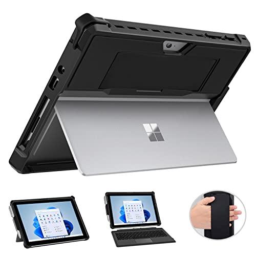 MoKo Hülle Kompatibel mit Surface Go 3 (2021)/ Surface Go 2 2020 / Surface Go 2018, All-In-One Schutzhülle mit Stifthalter & Handschband & Kompatibel mit Typ Cover Tastatur, Schwarz