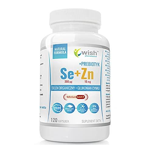 Wish Pharmaceutical Se 200ug + Zn 15mg + Prebiotic Confezione da 1 x 120 Capsule - Selenio Biologico - Selenometionina - Zinco Gluconato - Integratore Alimentare - Formula Naturale - Probiotico