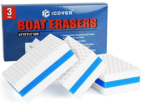 i COVER Boat Scuff Erasers-Magic Boat Sponge for Cleaning Mark Dirt Durable Marine Boat Cleaner Accessories, 3 Pack