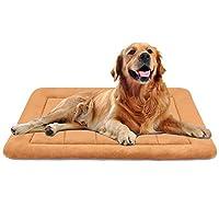 Hero Dog ペットベッド 犬 冬 ペットマットクッション 防寒 大型犬ベッド 洗える 柔らかくて暖かい 滑り止め 通年使える(カーキ L)