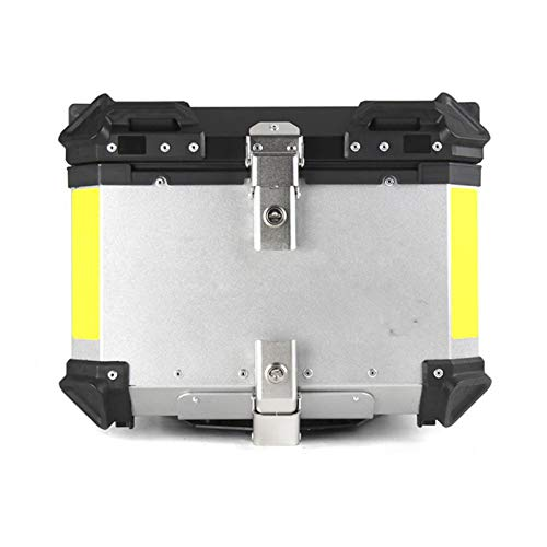 wenxin 55L 65L Motorcycle Top Luggage Case Storage Tool Box Helmet Key Lock Rear Trunk Carrier Fit For Suzuki Kawasaki Yamaha Toolbox,Motorcycle Seat Bag (Color : 55L Silver)