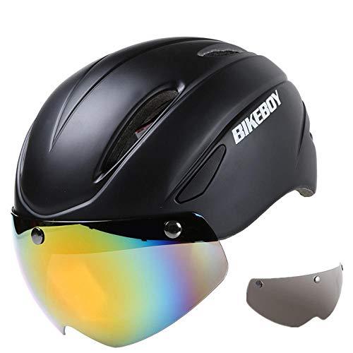 nohbi Protector de Cabeza Cara de Casco,Casco de Bicicleta Unisex Integrado con Gafas Casco de equitación,Casco Especializado de la Bici