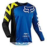 Hombres Ciclismo Jersey, Manga Larga Ciclismo Ciclismo Tops Secado Rápido Transpirable Mountain Bike MTB Camisa Racing Bicicletas Ropa (Light Blue,2XL)