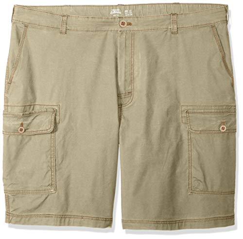 IZOD Men's Big and Tall Saltwater 10.5' Cargo Short, Cedarwood Khaki, 44