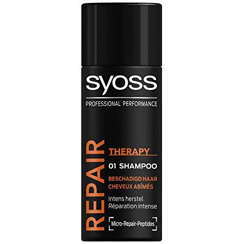 12er Pack - Mini Syoss Shampoo - Repair Therapy - reinigt und pflegt trockenes und geschädigtes Haar - 50 ml