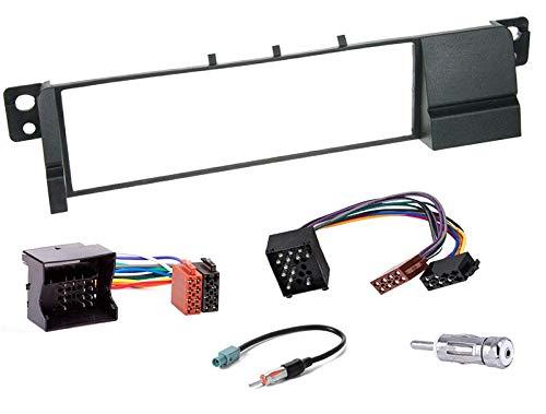 Sound-way Kit Montage Autoradio, Cadre Façade 1 DIN, Cable Adaptateur Connecteur ISO, Adaptateur Antenne, Clés Demontage, Compatible avec BMW Serie 3 E46, E36