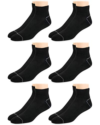 Reebok Mens' Breathable Cushioned Comfort Quarter Cut Basic Socks (6 Pack) (Solid Black, Shoe Size: 6-12.5)