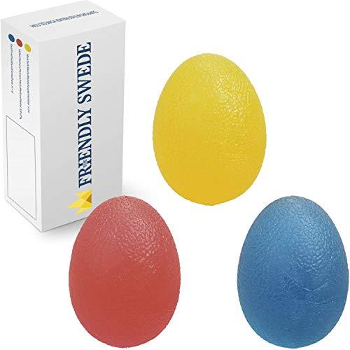 The Friendly Swede 3 Stück Eiförmige Griffbälle - Antistressball, Handtrainer und Fingertrainer mit unterschiedlichen Härtegrade