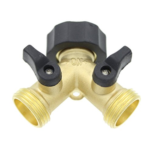 IGNPION 2 Way Brass Tap Manifold with Individual On/Off Valves, Tap Adaptor for Garden