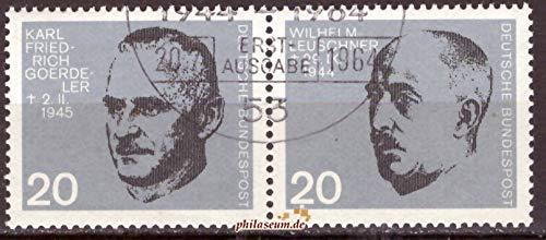philaseum Briefmarken BRD 1964, Mi.Nr. 435-436 waagerechtes Paar, 20. Jahrestag des Attentats auf Adolf Hitler, Gestempelt