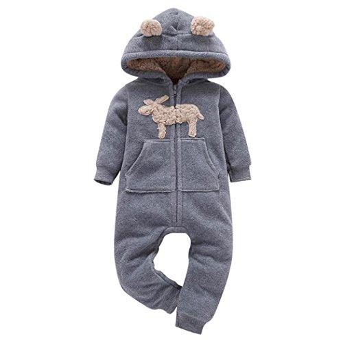 Longra Baby Jungen Mädchen Strampler Herbst Langarm Camouflage Dicker-Druck Jumpsuit Kapuzenpullover Overall Baby Unisex Kleidung(0-24Monate) (85CM 12Monate, Gray02)