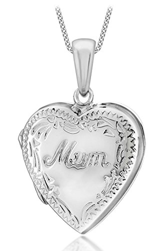 Tuscany Silver Sterling Silver Heart Engraved Edge'Mum' Locket Pendant on Curb Chain of 46cm/18'