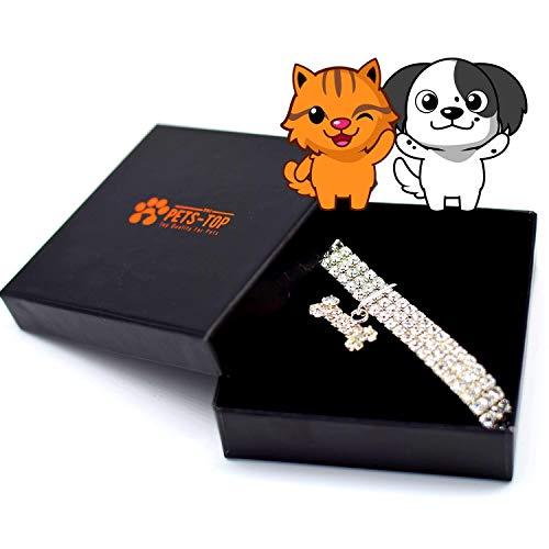 One PETS-TOP Hundehalsband, Strass, Chihuahua, Westie, dehnbar, verstellbar, elastisch, Geschenkbox