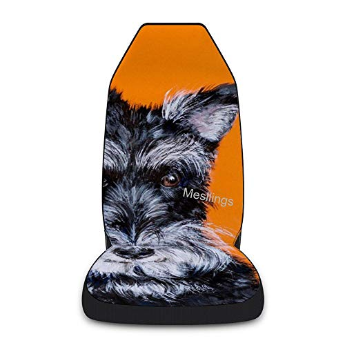 Front Seat Covers 1 PCS, Schnauzer With Orange Background, Printed Vehicle Seat Protector Car Mat Covers, Fit Most Cars, SUV, Van, Sedan, Truck