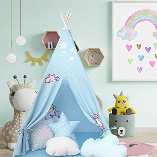 Atlasonix Teepee Tent for Kids | Unicorn Tepee Play Tent Indoor and Outdoor | Tipee Tent for Girls and Boys | Children's Best Tee Pee Playhouse Fort | Portable Tent w/ Convenient Carry Case (Blue)