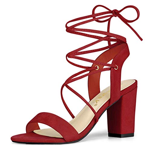 Allegra K Women's Lace Up Block High Heels Red Sandals - 8 M US