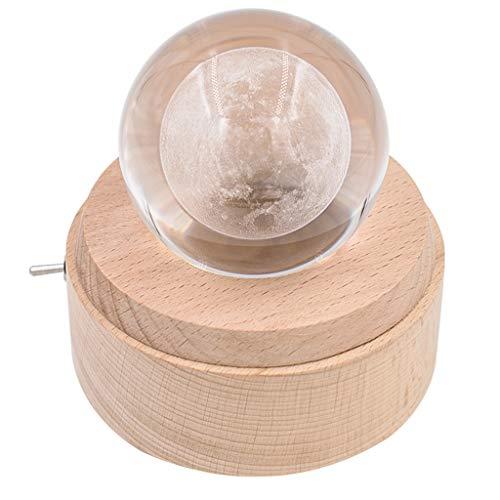 Caja de Música Moon 3D caja de música de la bola de cristal de madera base giratoria caja musical con luz LED mejor for el cumpleaños de Navidad para el Festival ( Color : Natural , tamaño : H )