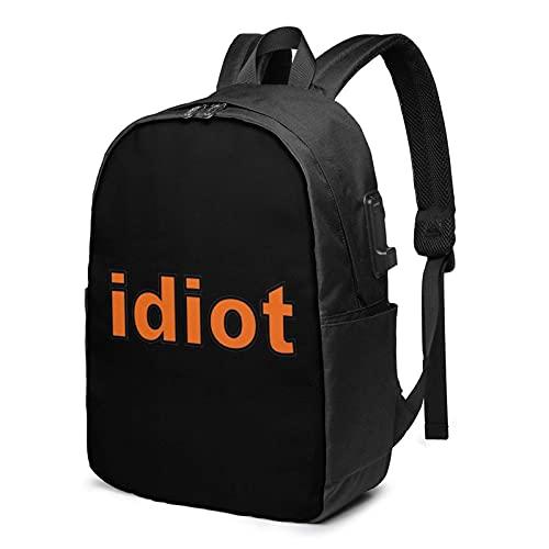 XCNGG Idiot Big Foam Business Laptop School Bookbag Mochila de Viaje con Puerto de Carga USB y Puerto para Auriculares de 17 Pulgadas