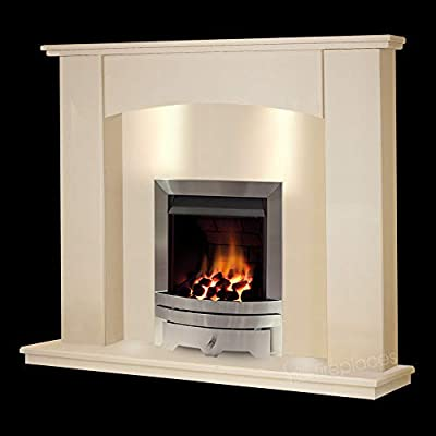 Cream Stone Marble Modern Surround Wall Gas Fireplace Suite Silver Inset Gas Fire with Spotlights
