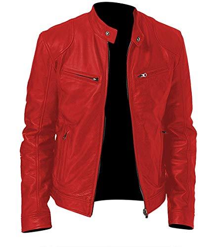 Cafe Racer Men's Vintage Snap Tab Collar Motorcycle Leather Jacket