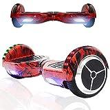 Magic Vida Hoverboard - 6.5'- Bluetooth - Motore 700 W - velocità 15 KM/H - LED - Monopattini elettrici autobilanciati - per Bambini e Adulti - Fiamma Rossa