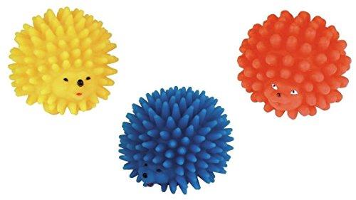 Cajou 3 Stück Igel Ø 9 cm Igelball Hundespielzeug Spielball Hundespielball Apportierspielzeug Bringsel mit Stimme Squeaker Quietscher Katzenspielzeug Vinyl