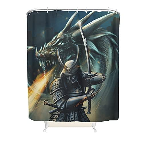 kikomia Cortina de ducha lavable a máquina tradicional, diseño de espada guerrera y dragón, para ducha de bañera, color blanco, 150 x 200 cm