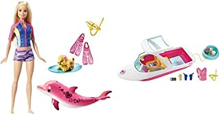 Barbie Dolphin Magic Snorkel Fun Friends AND Barbie Dolphin Magic Ocean View Boat Playset