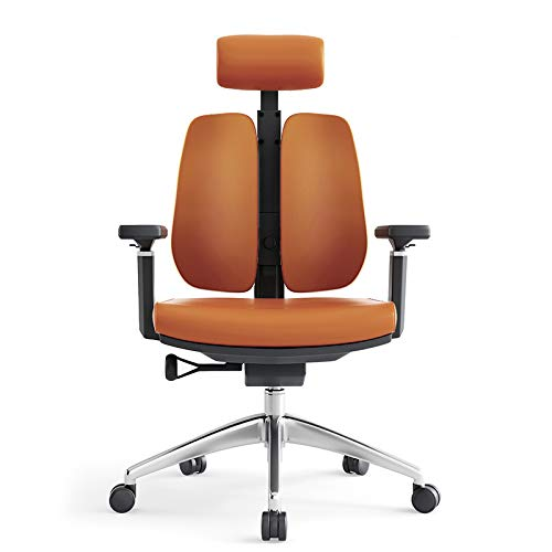 WGEMXC Office Computer Chairs,Reclining Chairs with Backrests,Household Leather Chairs,Ergonomic Double-Back Chairs C/Brown/S