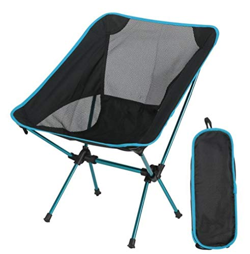 Folding Camping Chair-Adult Chair-Outdoor Ultralight Detachable Portable Moon Chair Office Home Camping Garden Hiking-Sky Blue