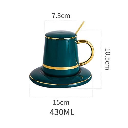 Mok set, beker + lade + lepel driedelige set, Scandinavische creatieve keramische ontbijt beker koffie melk glas keuken benodigdheden Outfit A3