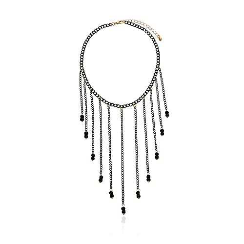 Colgante de cadena de hierro pintado con aerosol negro, collar con colgante de bola, collar corto con borla punk femenina