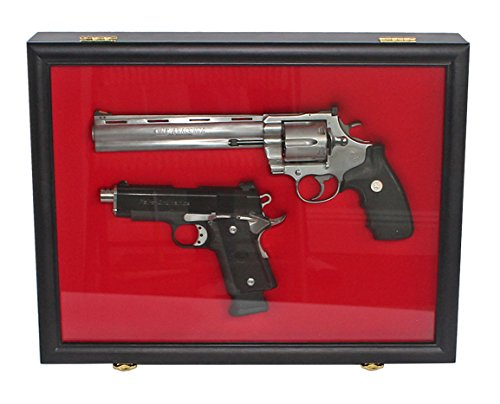 Pistol Airsoft Gun/Handgun Display case Shadow Box, Lockable (Blue Felt-Mahogany Finish)