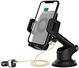 MEGAATRP,10W/7.5W Qi Wireless Car Charger Mount, Manual Clamps Fast Charging Windshield, Dashboard & Car Phone Holder for Galaxy S10/S10+/S9/S9+/S8/S8+/Note 9/Note 8, iPhone Xs/Xs Max/XR/X/8/8 Plus