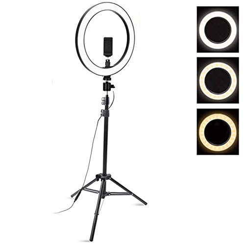 LED Ring Light, 3300-5500k Touch Setting Photography Dimmable Ring Lamp, 18 inch Photo Studio Lighting with Tripod for Video, Makeup