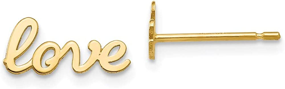 14k Gold Polished Love Post Earrings 6mm 11mm style H1081