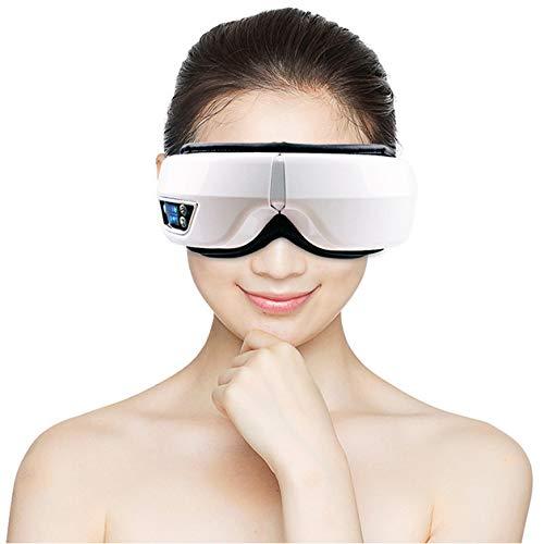 Masajeador De Ojos Eléctrico Bluetooth Música Masaje Inalámbrico Máscara De Ojos Vibración Terapia Magnética Fatiga Ocular Y Dolor De Cabeza,Blanco